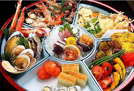 Rendezvous Hotel Gallery Seki Japanese restaurant Abalone  & Alaska  King  Crab Robata,  blue fin tuna, kimmedai snapper lobster  sashimi