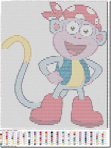 graficos gratis ponto cruz macaco da dora