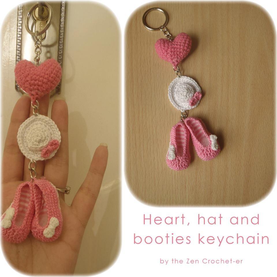 Free Crochet Cat Keychain Pattern : The Zen Crocheter: Hat and booties crochet keychain