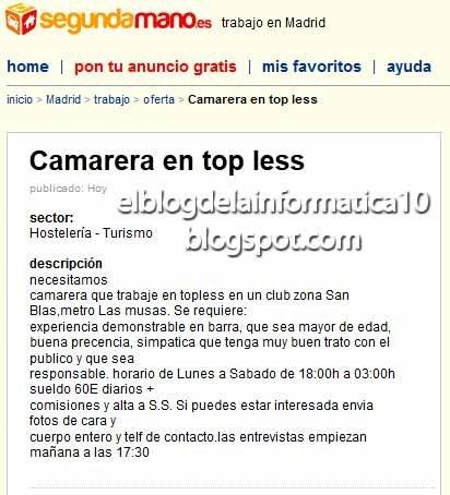 El blog de la informatica ofertas falsas en portales de for Ofertas empleo madrid
