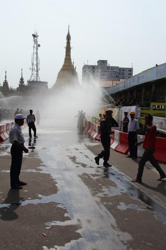 A water station near Sule Pagoda, Yangon, burma