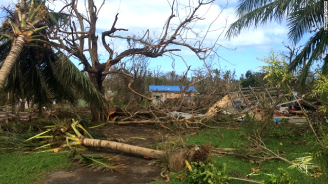 Cyclone Pam's 155 mph winds snapped trees in half. The Vanuatu government estimates 70 percent of the population was displaced by the storm. Photo: Ivan Watson / CNN