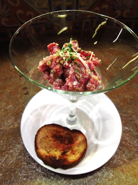 Steak Tartare on Mustard Sorbet at The Goose Station Manila