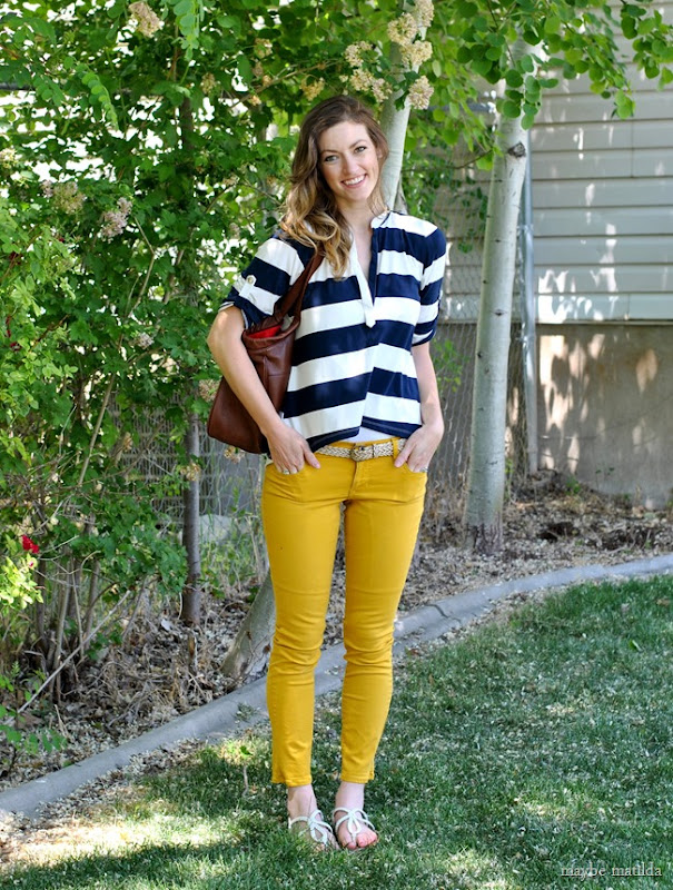 Bold navy and white stripes + yellow skinnies