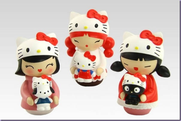 Momiji-Hello-Kitty-Trio-Bonecas-Madeira-Chococat
