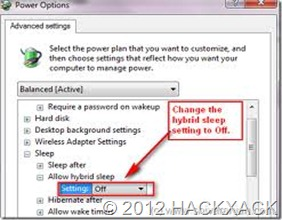 Hibernation in Windows 7 screenshot