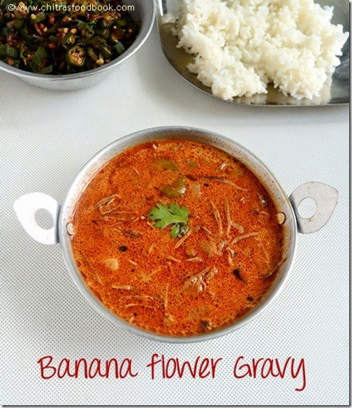 VAZHAIPOO KUZHAMBU RECIPE/BANANA FLOWER GRAVY-VAZHAIPOO RECIPES