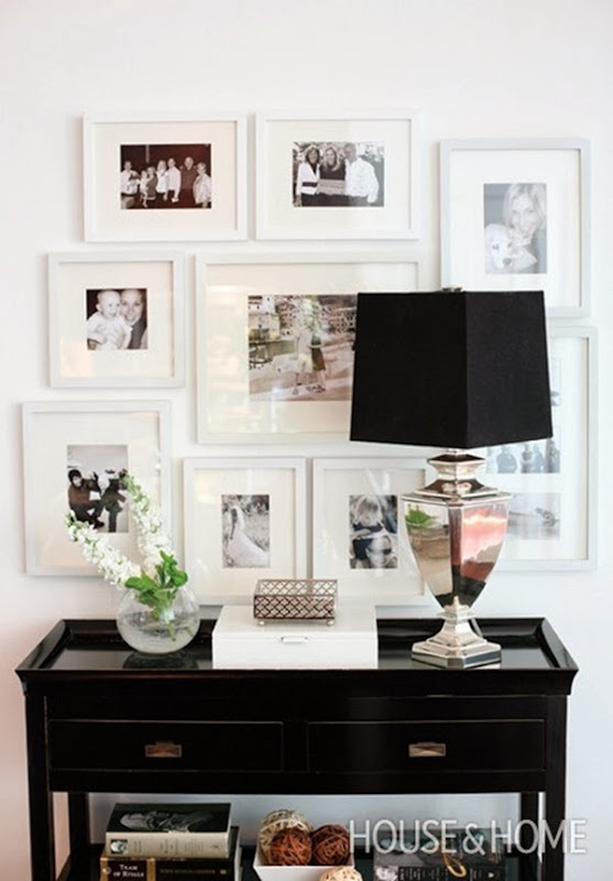 Photo Gallery Wall with white frames