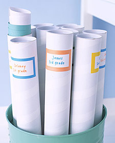 For your children's art projects, label mailing tubes, available at office-supply stores, by semester or year, and fill with rolled-up stacks of artwork.