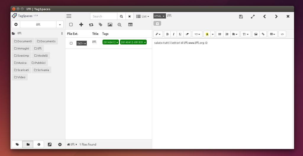 TagSpaces in Ubuntu Linux