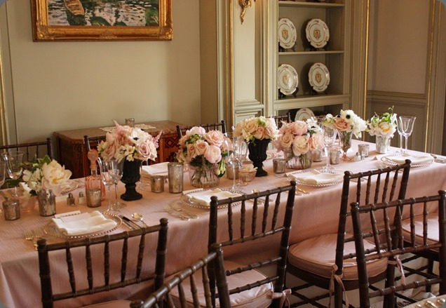 blush Plaster head table blush floral