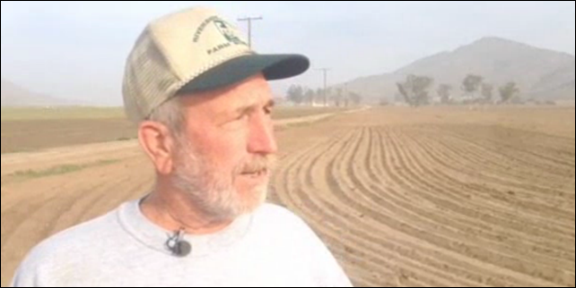 Andy Domenigoni, a fourth generation vegetable farmer in Riverside California, is feeling the pain from the state's drought. It has been so dry there for so long that officials have declared what's called an 'exceptional drought'. Photo: NBC News