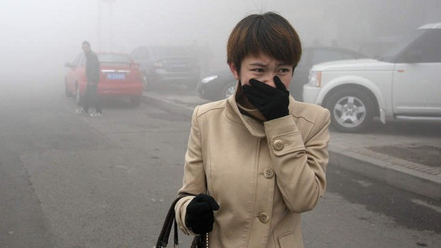 A woman walks along a road as heavy smog engulfs the city of Harbin, in northeast China. The air pollution has been lingering since Monday, 21 October 2013, disturbing the traffic, worsening air pollution, and forcing the closure of schools. Photo: Getty Images