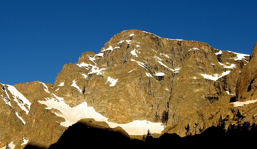 The majestic east face of Taylor Peak, which is in stark contrast to the benign west slopes.