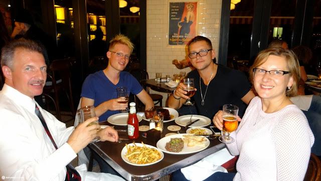 matt, john, mariuz & krystyna celebrating a big moment in Toronto, Ontario, Canada