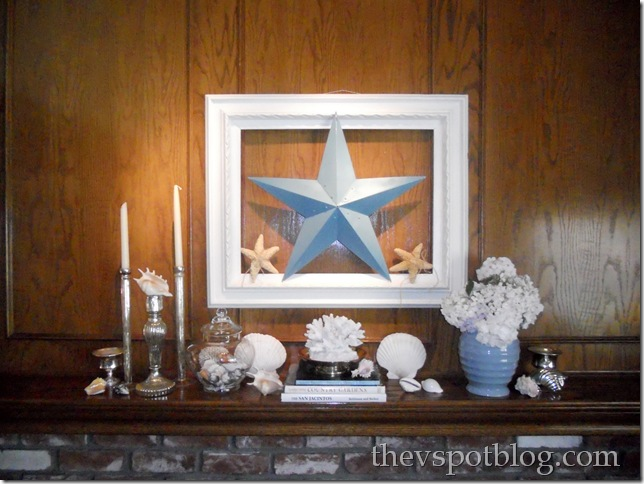 turquoise, white, summer, shell, coral, mantel, barn star