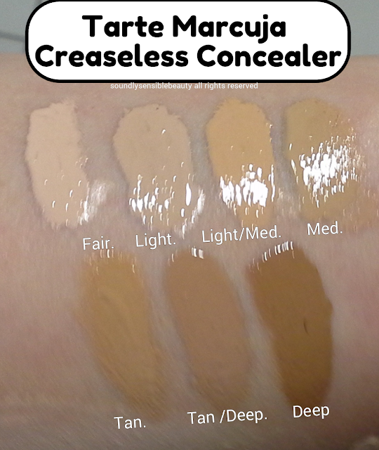 Tarte Marcuja Creaseless Concealer; Review & Swatches of Shades Fair, Light, Light/Medium, Medium, Tan, Tan/Deep, Deeo