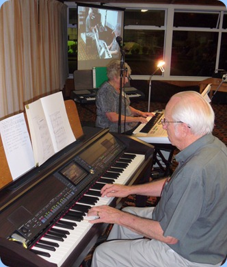 Rob and Barbara Powell played some great songs from various shows. Rob on the Club's Clavinova and Barbara on her Yamaha Tyros 3