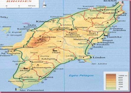 Cartina Isola di Rodi - Grecia