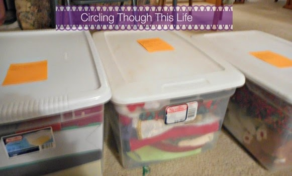 Christmas all packed up ~ Circling Through This Life ~ Now we'll know what's in each bin!