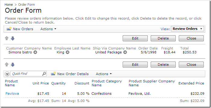 Order Form with hidden custom template