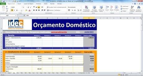 Planilha de Orçamento Doméstico - Idec