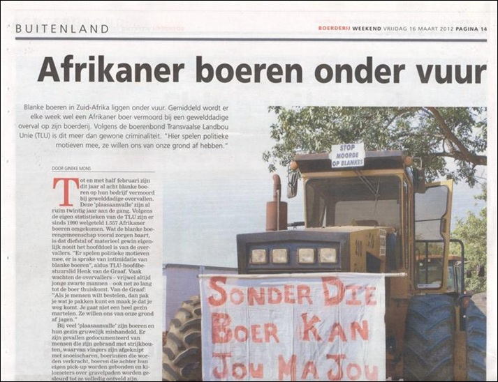 Farm Attacks Dutch P2 agri mag Boerderij 16mar2012
