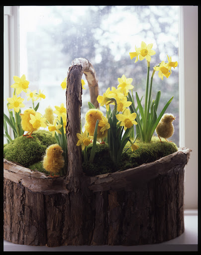 I love these playful pom-pom chicks on this wood basket.