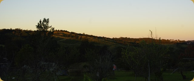 Sunset across the valley from the house