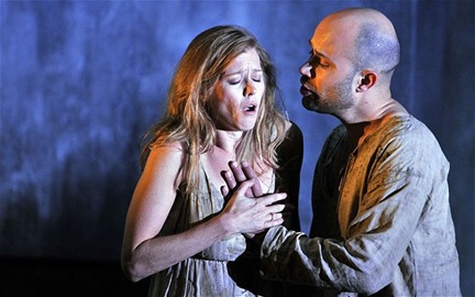 Barbara Hannigan as Agnès and Bejun Mehta as the Boy in WRITTEN ON SKIN at the Festival d'Aix-en-Provence [Photo courtesy of News of the World; photographer uncredited]
