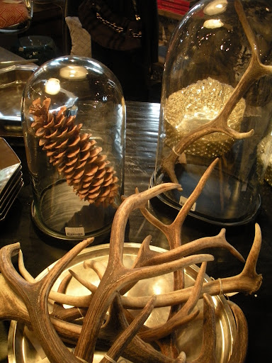 Another cluster of antlers. I like the idea of showcasing single items in those glass pieces.
