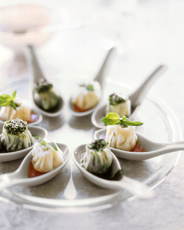 Steamed Ricotta Dumplings: These dumplings make elegant hors d'oeuvres when served in individual Chinese soup spoons. Fill them with broccoli rabe or stuff them with ricotta, Parmesan, prosciutto, and parsley.