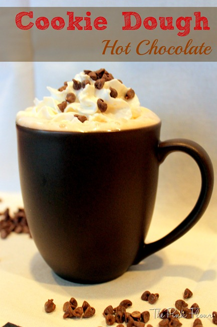 Adult Cookie Dough Hot Chocolate from The Pink Flour #hotchocolate #cookiedough #vodka