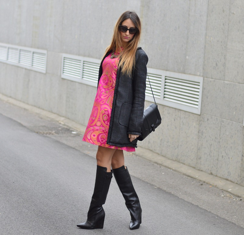 Maison 39, abito Maison 39, Zara bag, Zara boots, stivali Zara, Valentino sunglasses, Sheinside, Sheinside coat, Milano fashion week, fashion week, Milan fashion week, fashion week, streetstyle, stivali givenchy, stivali in stile givenchy
