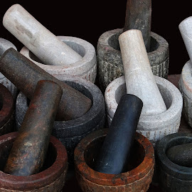 Stone antique utensils by Asif Bora - Artistic Objects Cups, Plates & Utensils