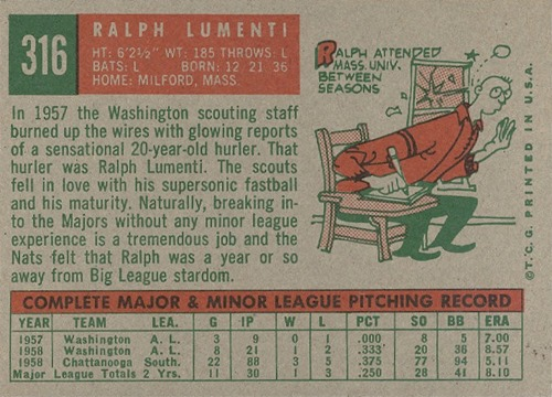 1959 Topps 316B ralph lumenti no option statement back