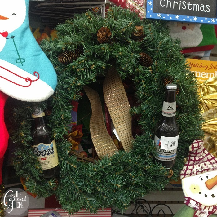 thriftscorethursday christmas beer wreath