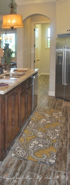 Kitchen island with dishwasher and paisley rug