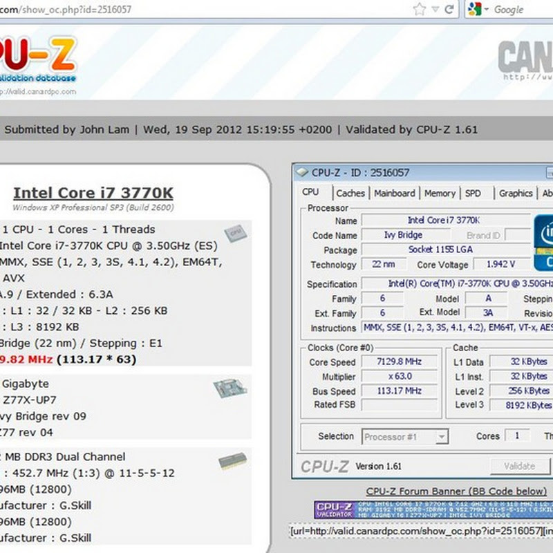 John Lam from Team HKEPC hits a crazy 7.13GHz on Z77X-UP7 with LN2