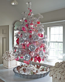 Aluminum trees look really great with balls and swags in one or two colors.