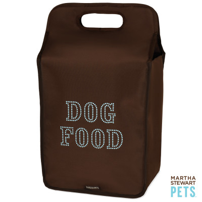 Keep dog food stored in an air-tight container like this. This bag is especially good for travel with the handle on top. Martha Stewart (petsmart.com)