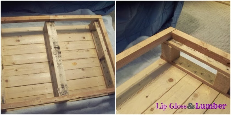 Attaching the 2x2s to the pallet