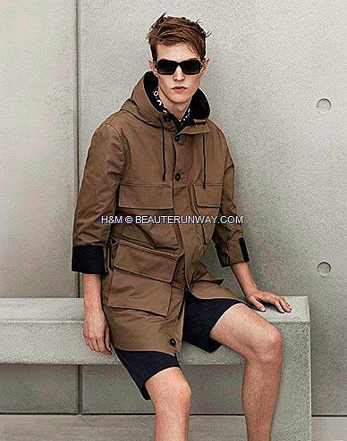 Marni H&M Mens Khaki Parka Coat, Shorts, Scarf