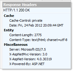 Default response headers from the test site