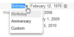 Google Contacts custom label for dates
