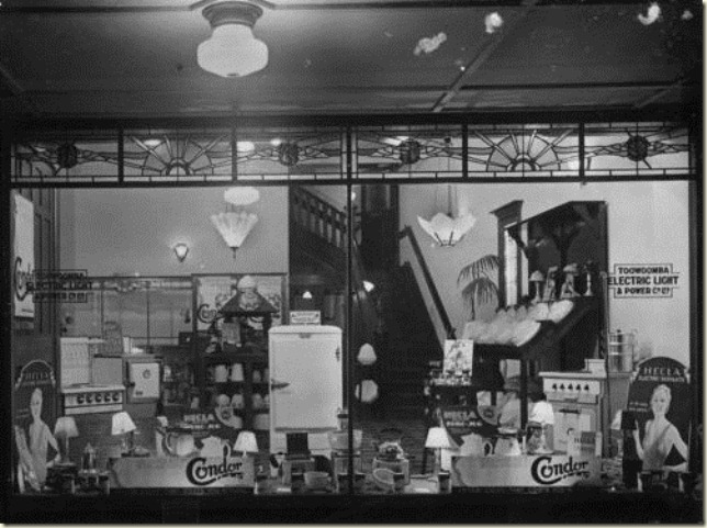 Electrical wares on display in the Toowoomba Light and Power Companys shop window