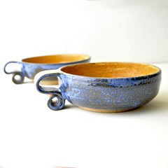 scroll handle ceream bowls by glazedOver Pottery 2