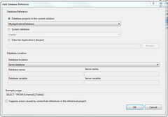 Adding Database Reference To Application Project From Unit Test Project