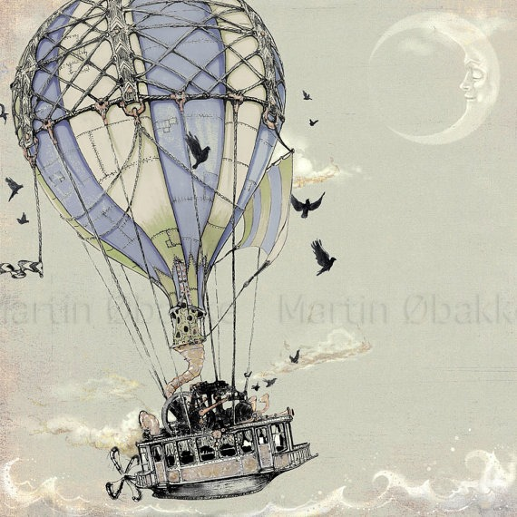 Steampunk Hot Air Ballon Art from theFiligree on Etsy