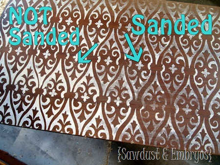Stencil then Sand! {Sawdust and Embryos}